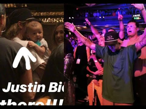Justin Bieber holding baby dancing with Hailey Baldwin & pas