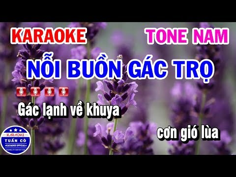 Karaoke Nỗi Buồn Gác Trọ | Nhạc Sống Tone Nam | Karaoke Tuấn Cò