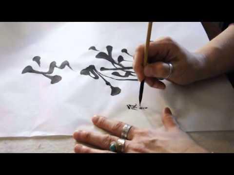 calligraphie chinoise, dragon de feu en semi-cursive, pinceau calligraphie