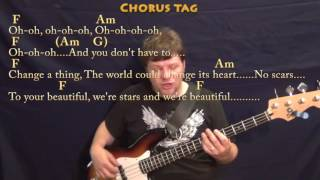 Scars to Your Beautiful (Alessia Cara) Bass Guitar Cover Lesson with Chords/Lyrics