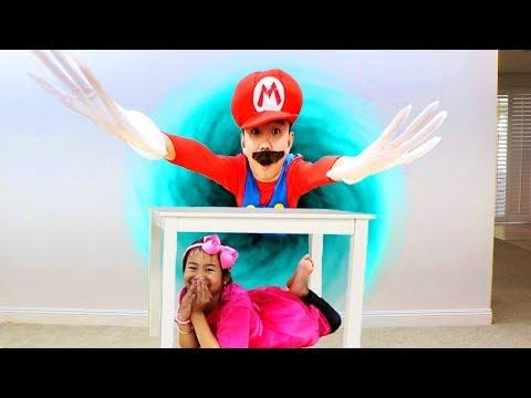 Jannie Pretend Play Hide and Seek with Mario Kids Adventure
