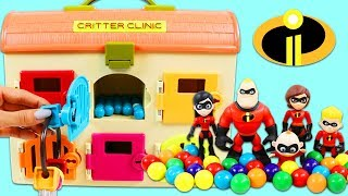 Learn Colors with Disney The Incredibles Hiding in the Gumball Toy Clinic!