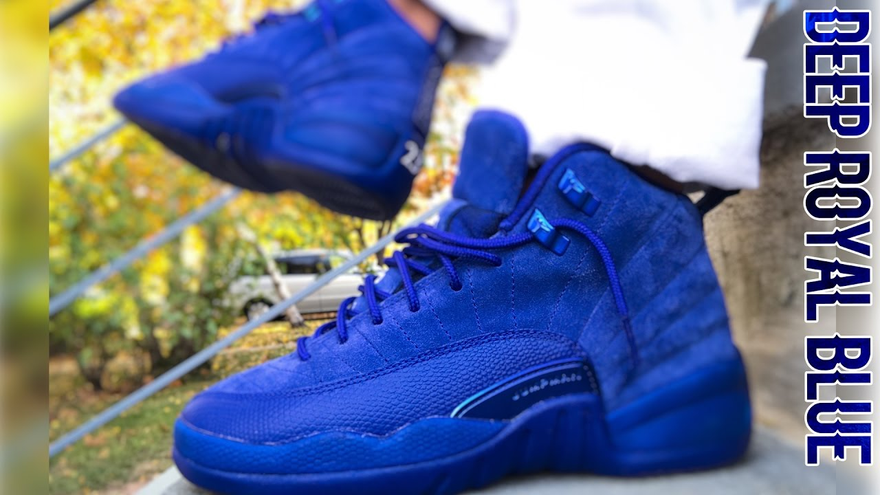 7843ad62890 Air Jordan 12 Deep Royal Blue On Feet Review - YouTube