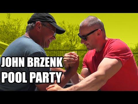 JOHN BRZENK ARM WRESTLING TRAINING (Best POOL Party EVER)