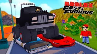 ROBLOX FAST AND THE FURIOUS - DONUT CRUSHES SUPER CARS & A POLICE CAR IN HIS MONSTER TRUCK