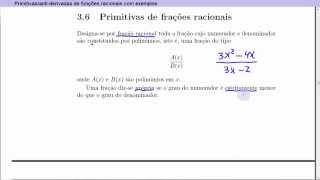 Aula teórica de primitivas/anti-derivadas de funções racionais com exemplos