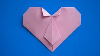 оригами сердце с галстуком, как из бумаги сделать сердце оригами // origami heart with a tie