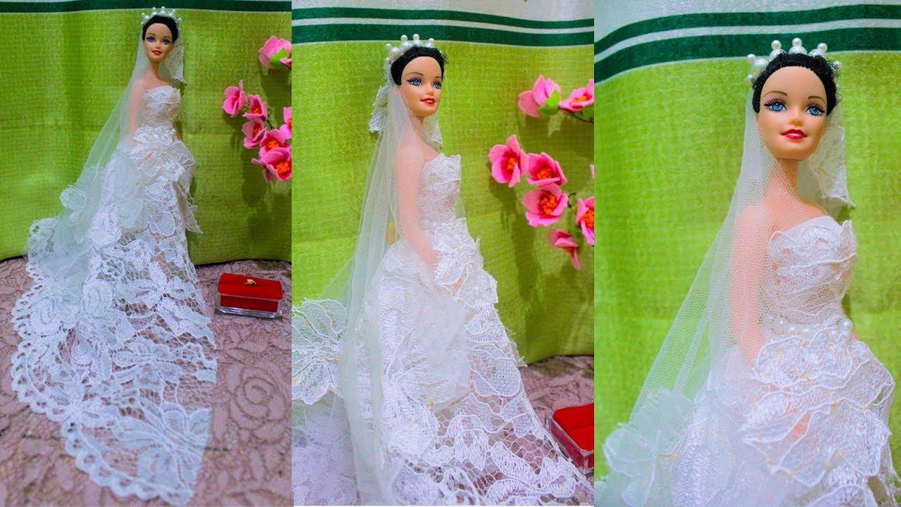 Diy Membuat Gaun Pengantin Barbie Barbie Menikah Barbie Doll Making Dress Barbie Tutorial
