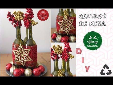 Centro de mesa navideño con botellas (super facil/reciclaje)