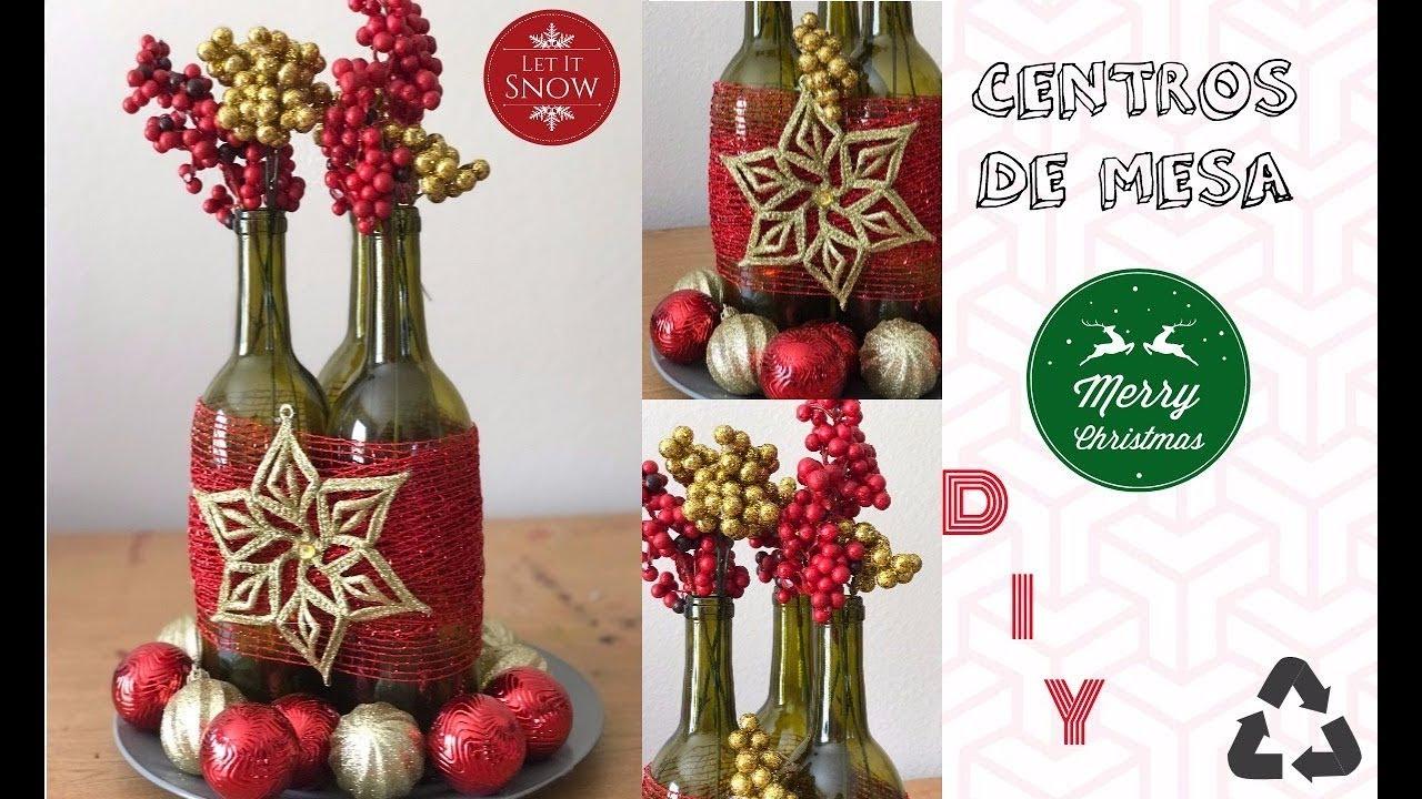 Centro de mesa navide o con botellas super facil - Centro de mesa navideno ...
