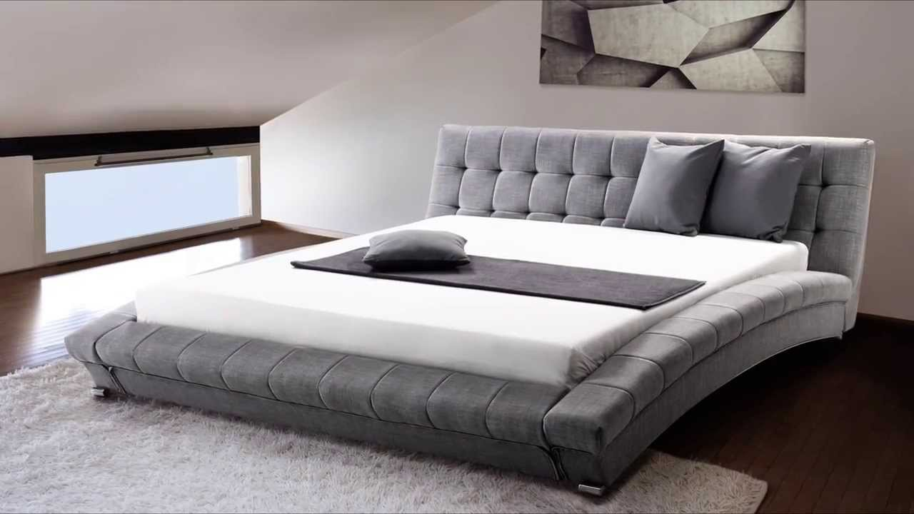 Beliani Upholstered Bed Fabric Super King Size Incl Le Slatted Frame Grey Lille Eng You