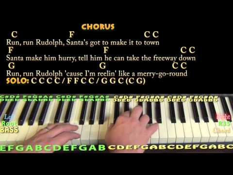 Run, Run, Rudolph (Chuck Berry) Piano Cover Lesson in C with Chords/Lyrics