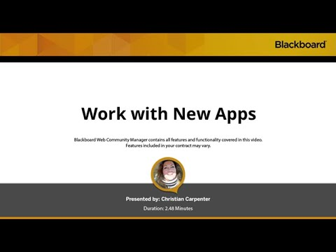Work with New Apps in Blackboard Web Community Manager