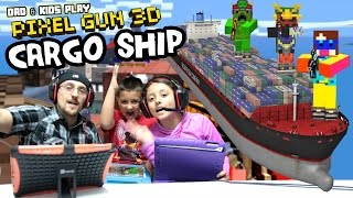 Dad & Kids play PIXEL GUN 3D! Pt. 29 Cargo Ships & Inside the Code (Deathmatch & Team Battle)