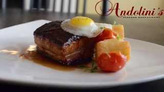 Pan roasted pork belly, oven dried tomato, crispy polenta, fried quail egg