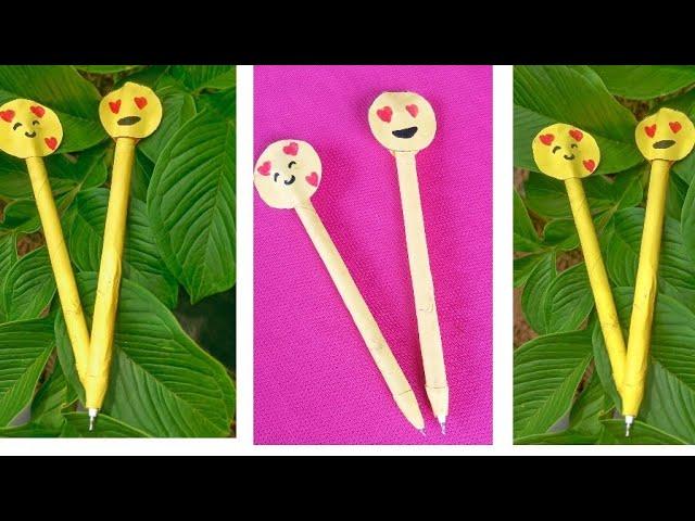 Diy Hand Made Emoji Pen... Paper Pen Making... Kukkoos Craft..