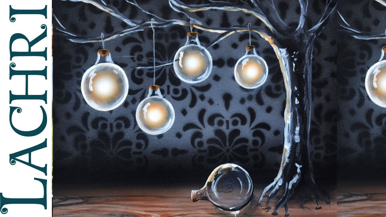 Surreal Light Bulbs On A Tree Acrylic Painting With Airbrushing By Lachri