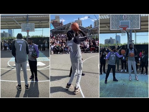 KD taking shots with Kyrie during Nets open practice in a Brooklyn Park