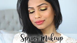 Glowing Skin & Sparking Gold Eyes | Spring Makeup for Medium Skin