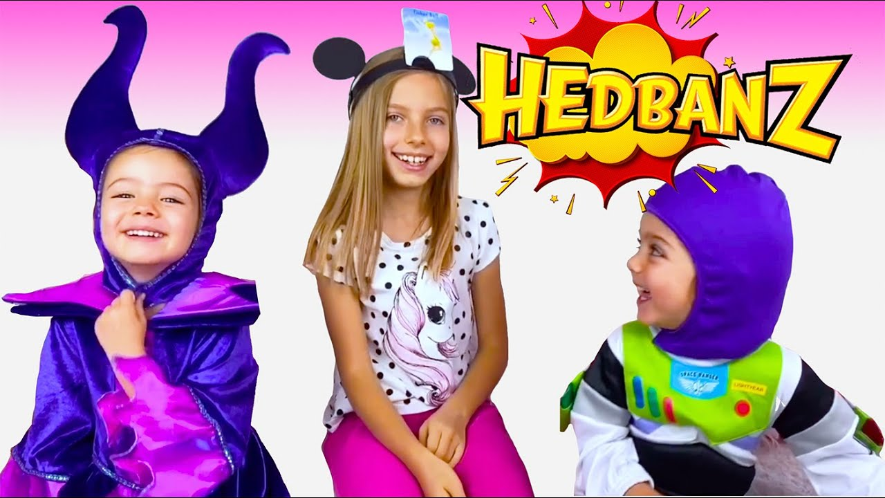Diana, Maya & Adele play Hedbanz Disney game. Fun game for kids with Disney costumes. Guessing game