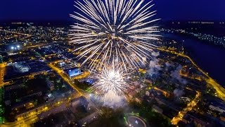Салют на День Победы, 9 мая 2016 г., Даугавпилс, Латвия (Аэросъемка)
