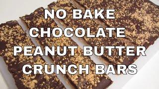 Gluten Free Chocolate Peanut Butter Crunch Bars ~ No Bake Bars