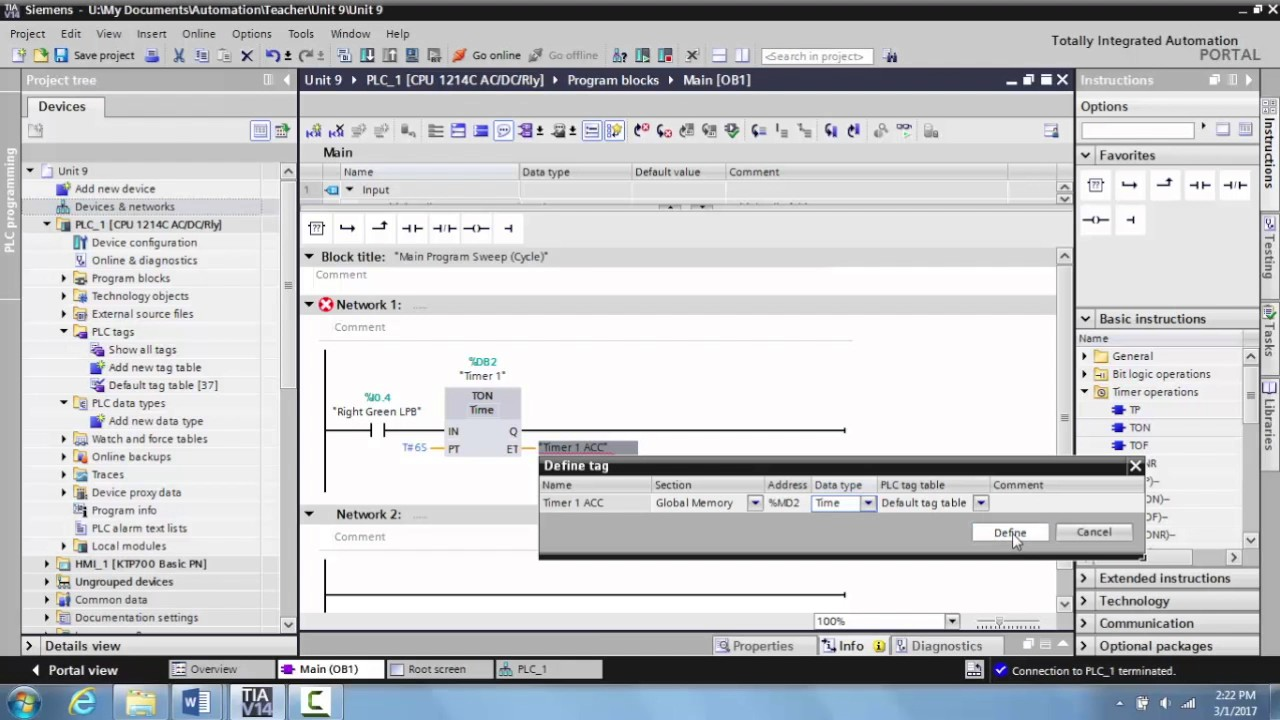 Programming an On-Delay Timer in TIA Portal V14 - Unit 15