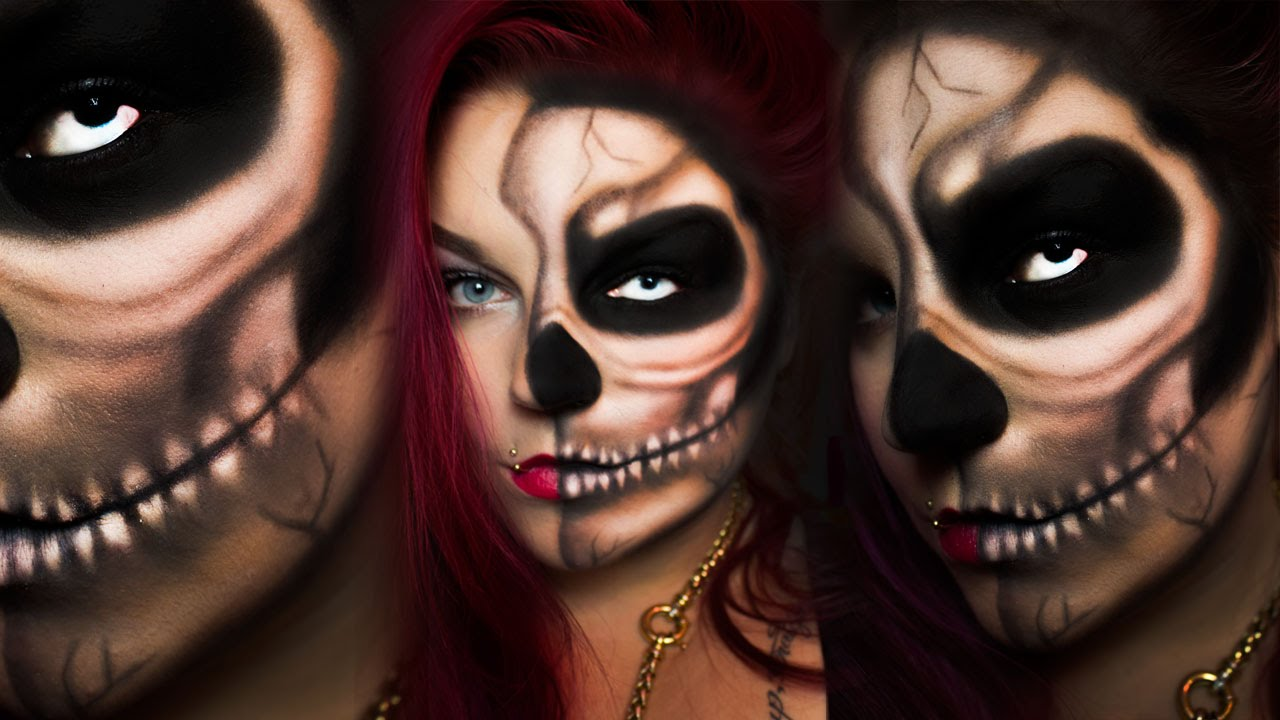 half skull last minute easy halloween make up schnell einfach mit lidschatten horror. Black Bedroom Furniture Sets. Home Design Ideas