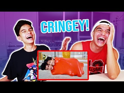 REACTING to Little Bro's CRINGEY PRE-PUBERTY videos! PT 2