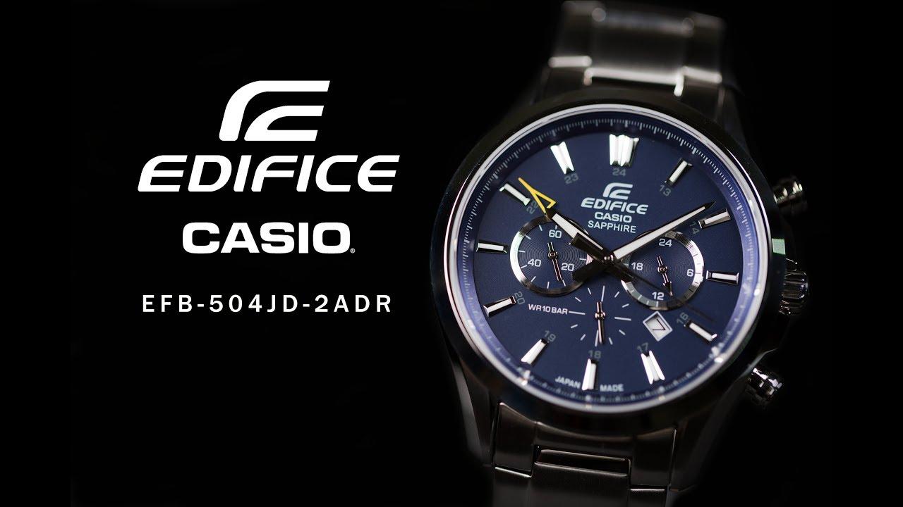 b7193e6c623c Jam Tangan Casio Edifice EFB-504JD-2ADR Stainless Steel - YouTube