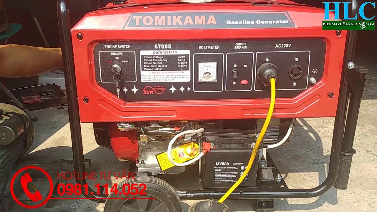 Máy phát điện chạy xăng gia đình Tomikama 5kw giá rẻ có đề nổ