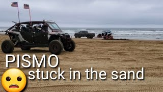 Stuck in the sand.  Chevrolet Trailblazer at Pismo Sand Dunes (oceano). and Ford F250