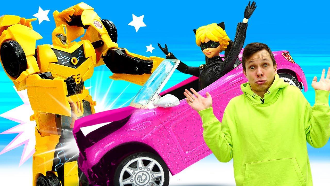 Видео игры машины – Краш-тест для Тачки Супер Кота! – Роботы Трансформеры и Леди Баг в игры гонки
