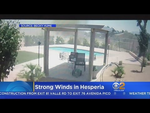 Caught On Video: Strong Winds Toss Patio Furniture About In Hesperia