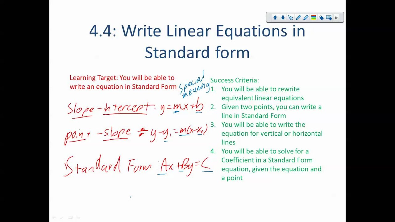 Alg Chapter 441 Linear Equations In Standard Form Youtube