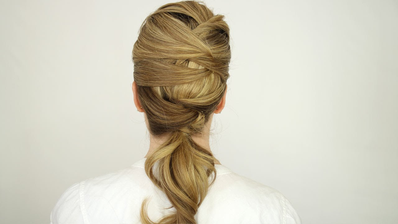 Simple Woven Low Ponytail Tutorial - YouTube