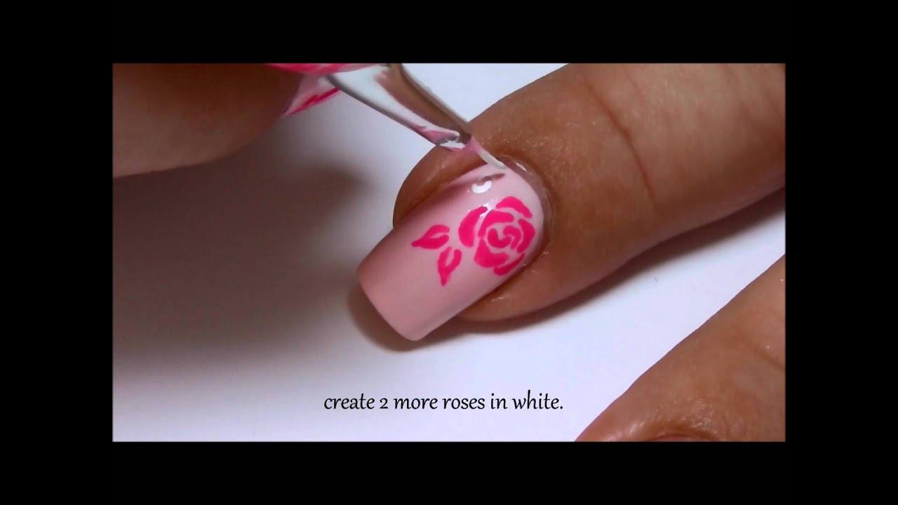 white & pink roses nailart design
