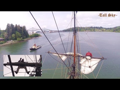 Afraid of Heights? Tall Ship Setting Sails Seen From Atop Masts