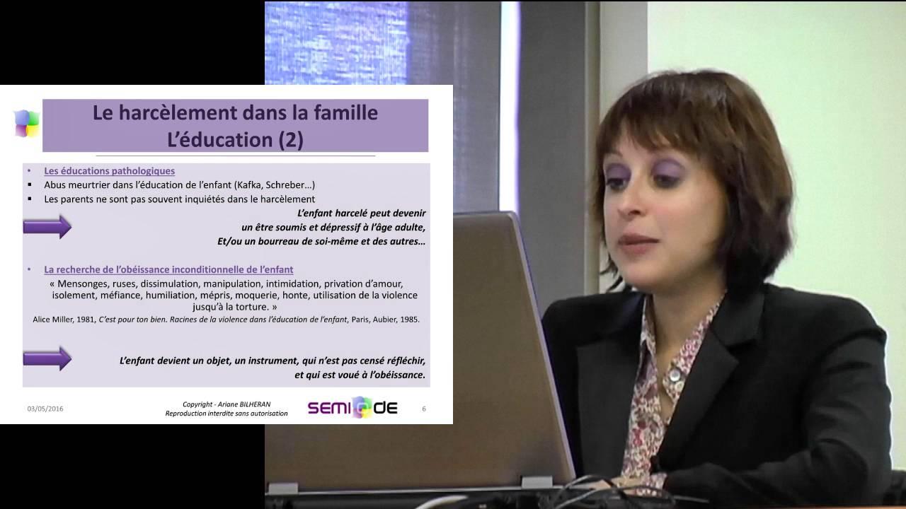 Conférence d'Ariana Bilheran, psychologue clinicienne, sur le harsèlement dans la famille