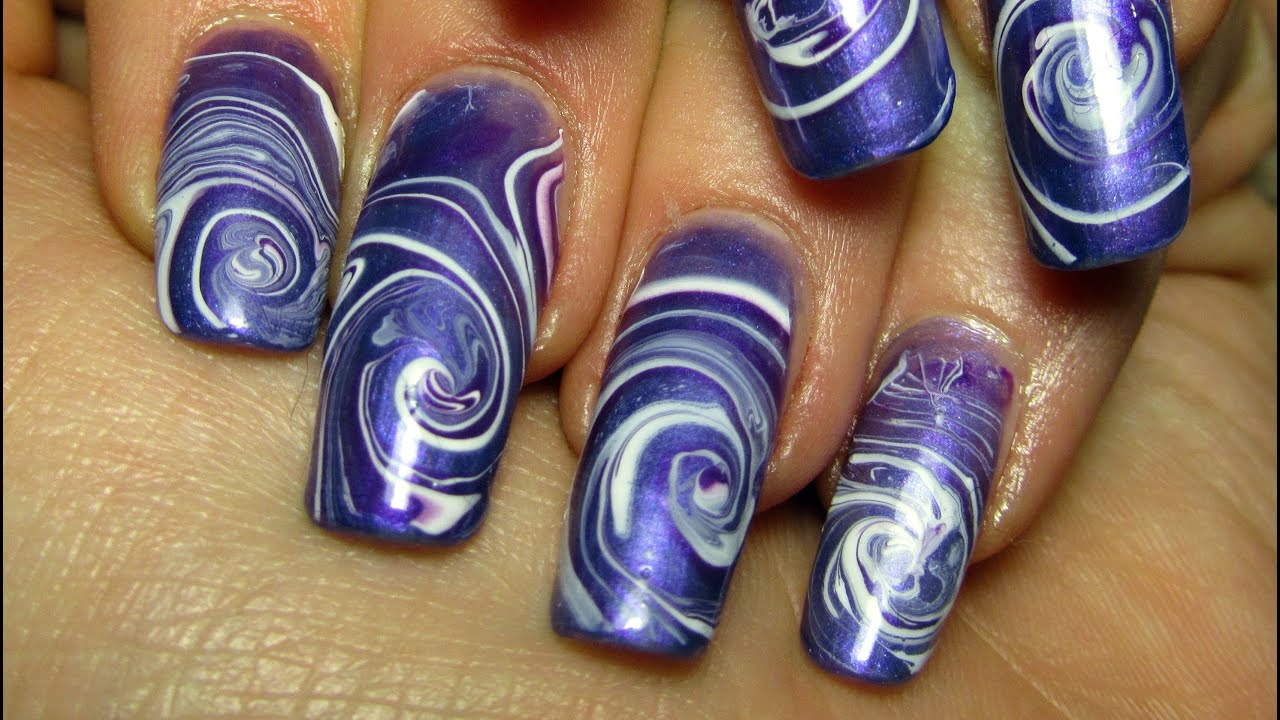 All Purple Spiral Water Marble Design Nail Art Tutorial