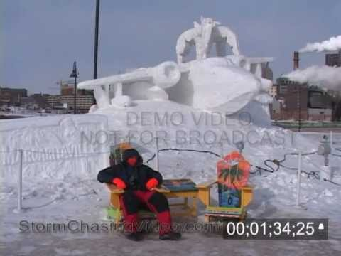 Stock footage of the 2007 Saint Paul Winter Carnival Ice and Snow Sculptures in sub zero temps