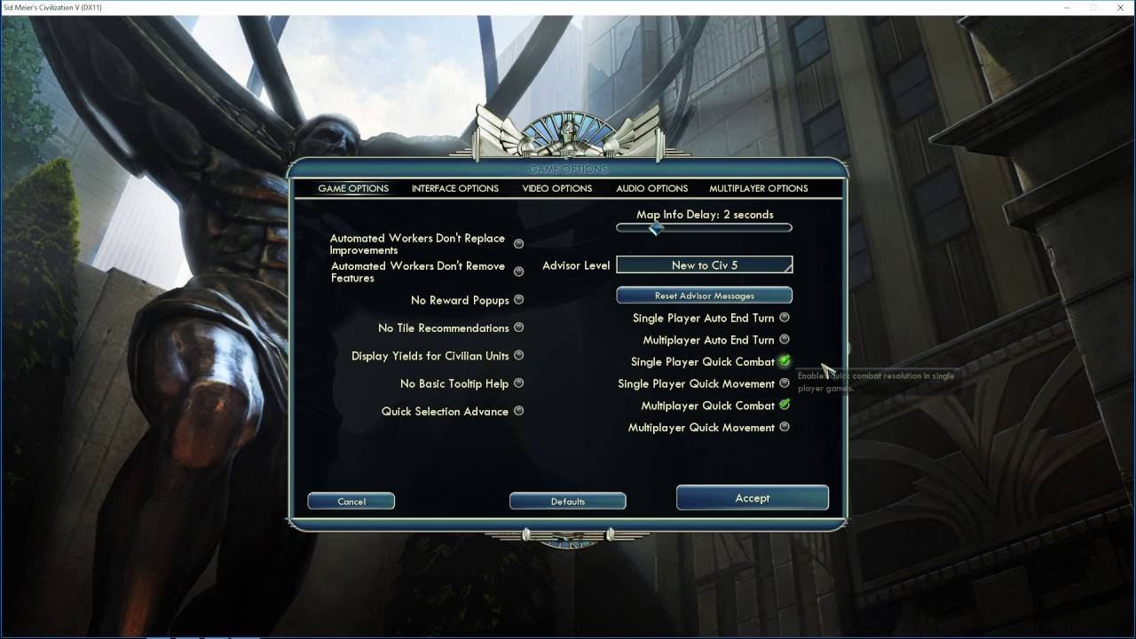 How To Disable Single Player Quick Combat In Civilization V