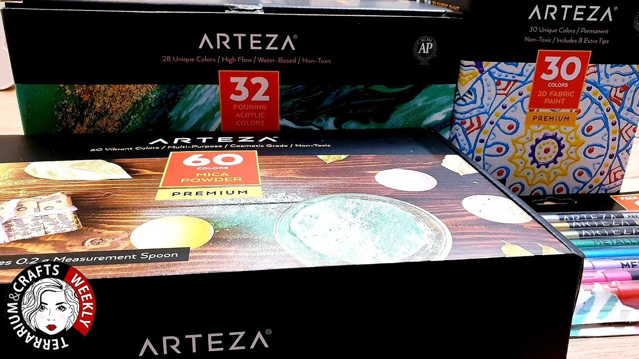 Arteza Review Arteza Uk Unboxing Mica Powder Acrylic Paint Fabric Paint Pens Youtube