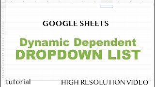 Google Sheets - Drop Down List, 2 Dependent Dropdown Lists
