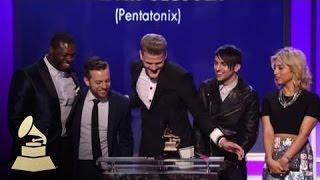 Pentatonix accept the GRAMMY for Best Arrangement, Instrumental Or ...