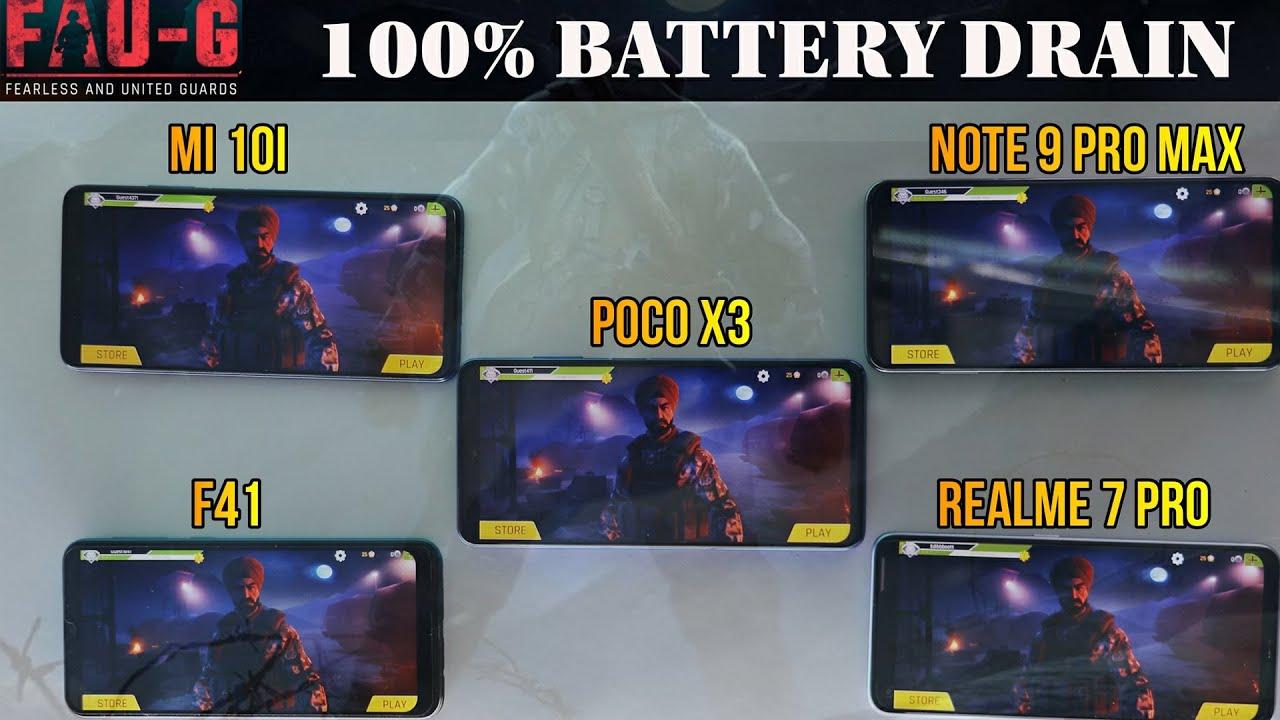 Download FAU-G Test between Mi10i, Realme 7 pro, Poco x3, F41 , Note 9 pro max