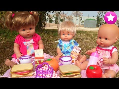 BEBÉ AVENTURAS Ani, Nico y la bebé van al parque a merendar Los mejores juguetes Nenuco