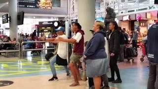 Cool  Haka  greeting at  Auckland,  New Zealand airport