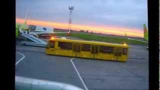 Взлёт из Толмачёво ранним утром на Аэробусе А319 ак S7 в Домодедово рулениевзлёт