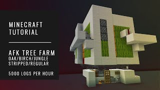 AFK Tree Farm OAK | BIRCH | JUNGLE | SPRUCE - 5000 logs/hr - Minecraft Tutorial